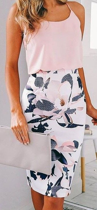 Pink Top + Floral Midi Skirt                                                                             Source