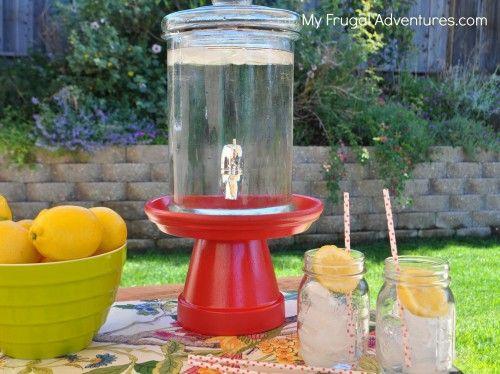 homemade drink dispenser stand - painted terra cotta pot n saucer