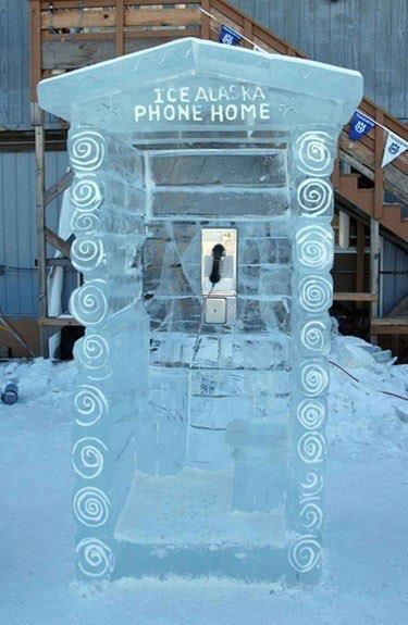 Phone booth made of Ice in Alaska