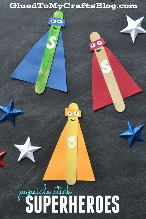 """Popsicle Stick Superheroes - Kid Craft -SWAP???- """"I'm a Girl Scout what's your superpower?!"""" Add pigtails?"""