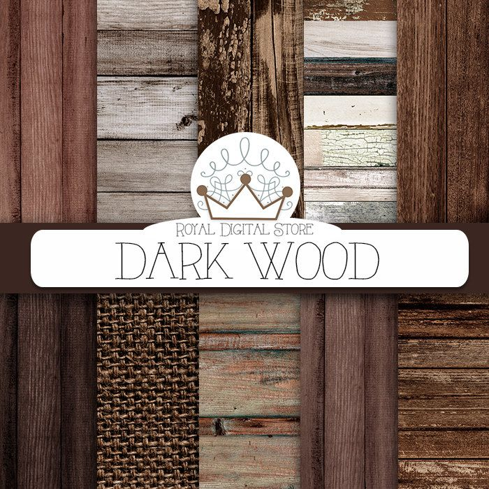 "Wood digital paper: ""DARK WOOD"" with wood background, wood texture, rustic wood, wood scrapbook paper, burlap for planners, scrapbooking #distressedwood #woodtexture #digitalpaper #scrapbookpaper #planner #shabbychic #texture"