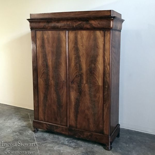 Antique Furniture | Antique Armoires | Renaissance/Gothic Armoires | 19th Century French Louis Philippe Mahogany Armoire | www.inessa.com