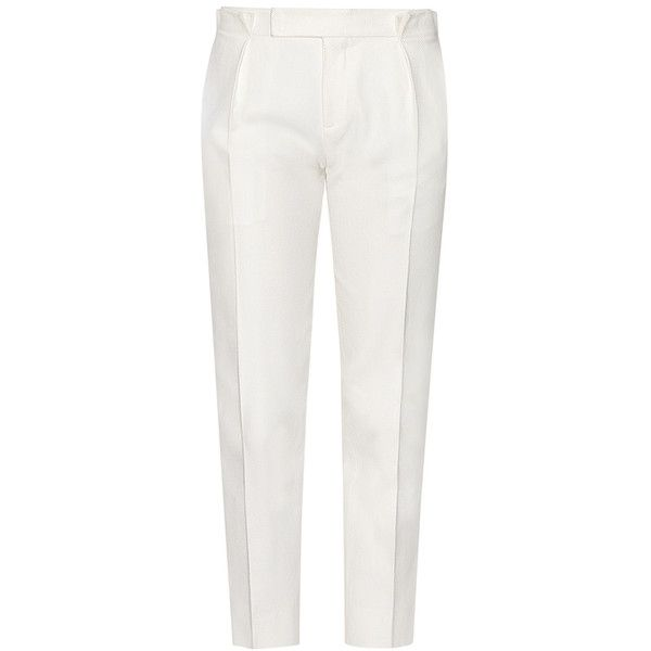 Tod's - Trousers (€405) ❤ liked on Polyvore featuring pants, capris, trousers, calças, pants & trousers, white, white slim fit pants, slim fit pants, white trousers and cropped capri pants