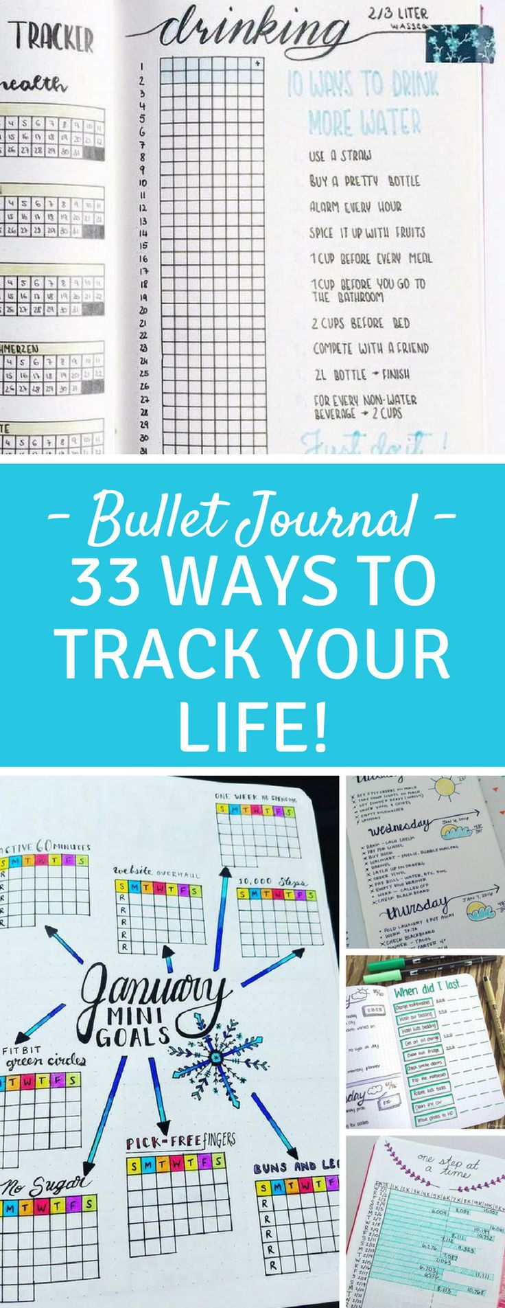 Bullet Journal Spreads - so many great ways to track everything from TV shows and books to water intake and weight loss!