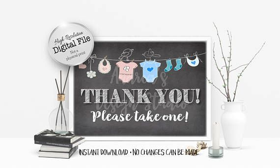 Thank You Sign Please Take One Favours Sign Baby Shower