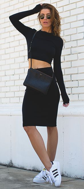 Black Scuba Top,pencil skirt and snickers