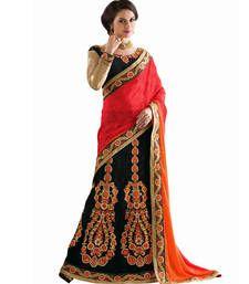 Buy Black embroidered jacquard Lehenga saree with blouse lehenga-saree online