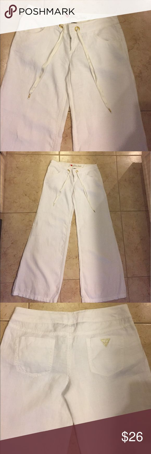 GUESS JEANS: LINEN WHITE PANTS I ❤️ GUESS JEANS :)  SCREAM SUMMER!!  WE ALL LOVE Cool Linen:)   A Beautiful style Pants,  comfortable and a Fun Pants!  100% Linen. With that Gold accent!  Size 29, inseam 32 1/2 inches. Washable) Great Final Price $26.00...Contact me if you have any questions. Guess Pants