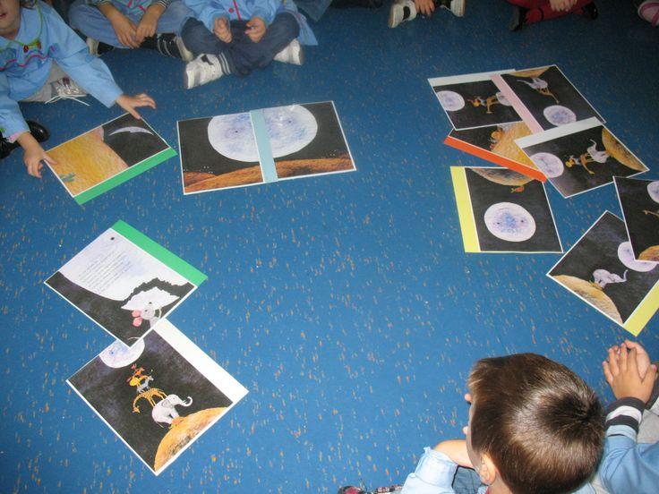 A que sabe a lua? organizar as imagens por ordem e recontar a história.