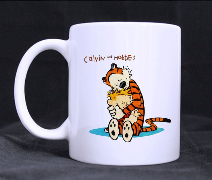 Calvin and Hobbes Hug Mugs Custom White Ceramic 11oz Gift Mug Coffee Tea