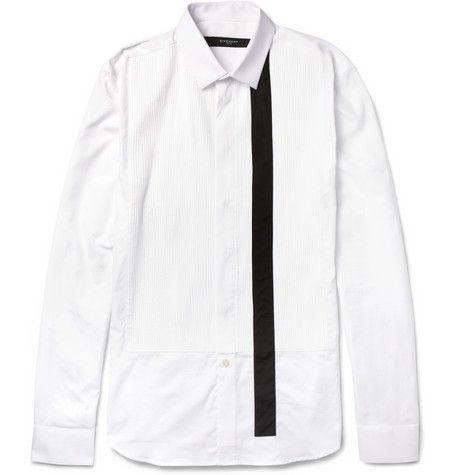 GivenchySlim-Fit Striped Bib-Front Cotton Shirt