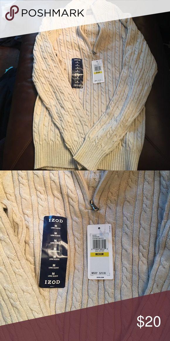 Izpd Cableknit cream zip up size medium New. Izod.  Cableknit.  New.  Cream color.  Size med izod Sweaters Zip Up