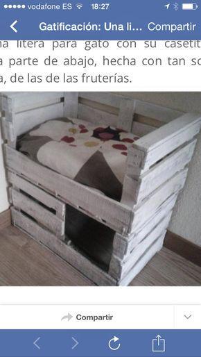 Cama para gatos con 2 cajas de fruta