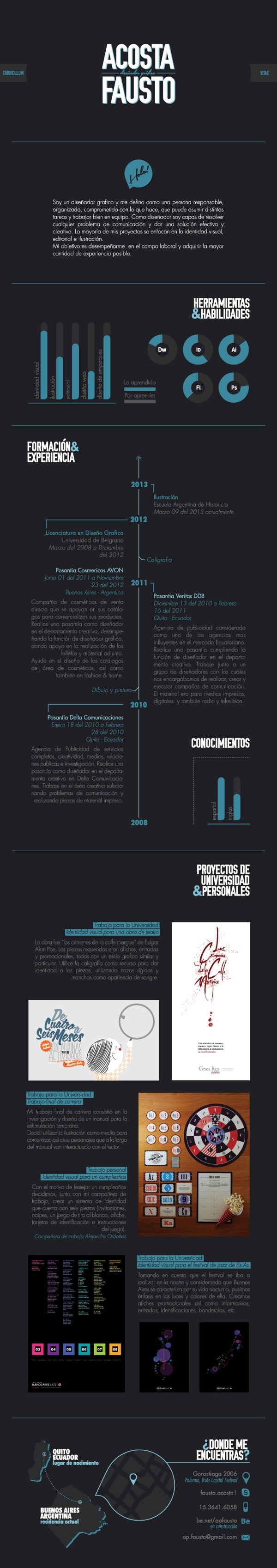 Curriculum Vitae by Fausto Acosta, via Behance