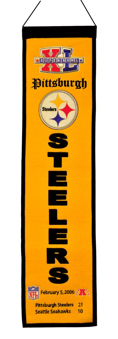 "Pittsburgh Steelers - Super Bowl 40 Wool Heritage Banner - 8""x32"""