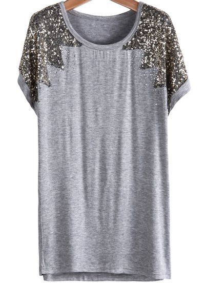 Grey Short Sleeve Sequined Modal T-Shirt pictures