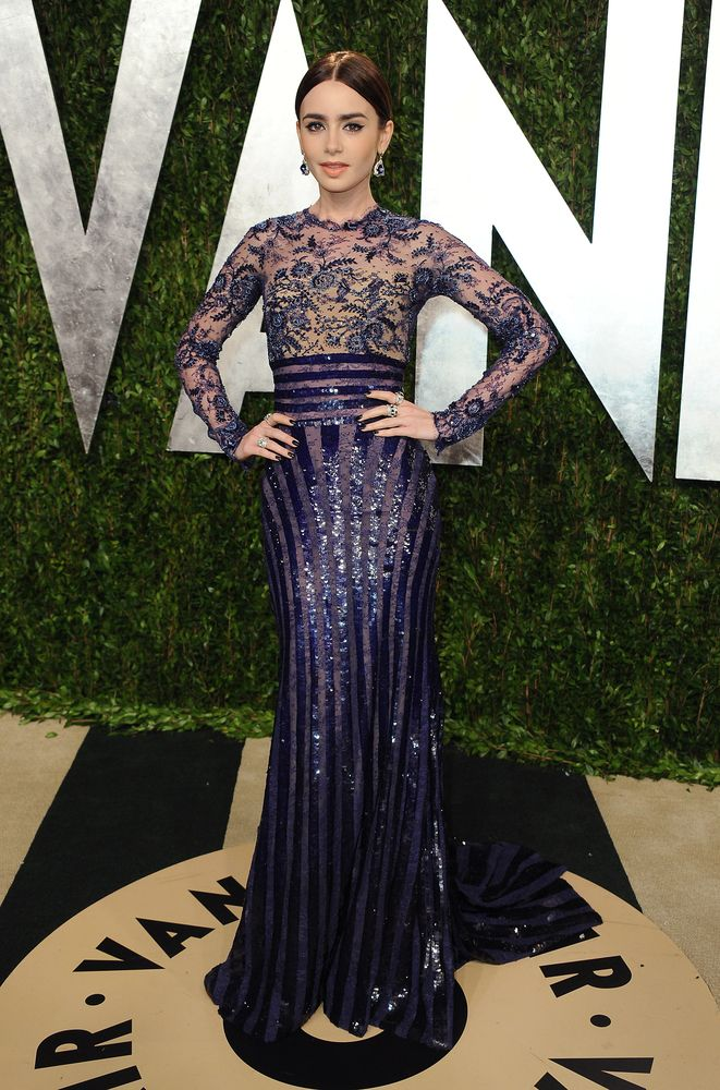 Lily Collins Vanity Fair 2013 Oscars After Party