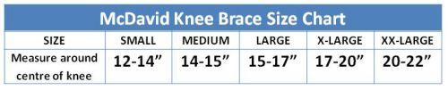 McDavid Knee Brace Size Chart