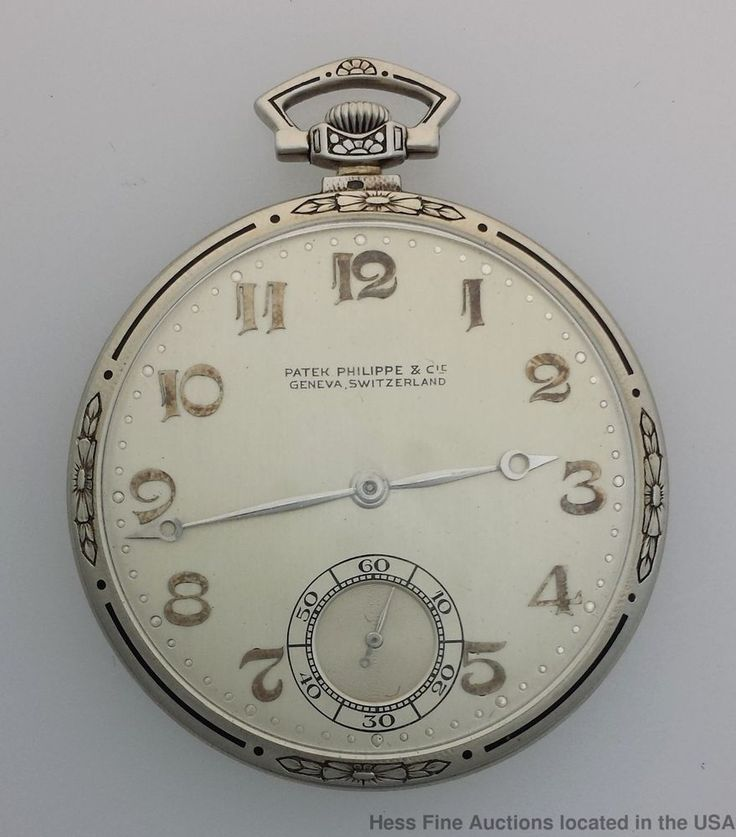 18k Gold Patek Philippe Art Deco Enamel Mens Running Pocket Watch #PatekPhilippe