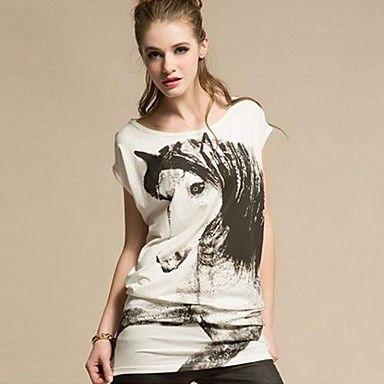 De+cuello+redondo+de+la+Mujer+Cabeza+de+Caballo+Unicornio+camiseta+impresa+–+EUR+€+8.81