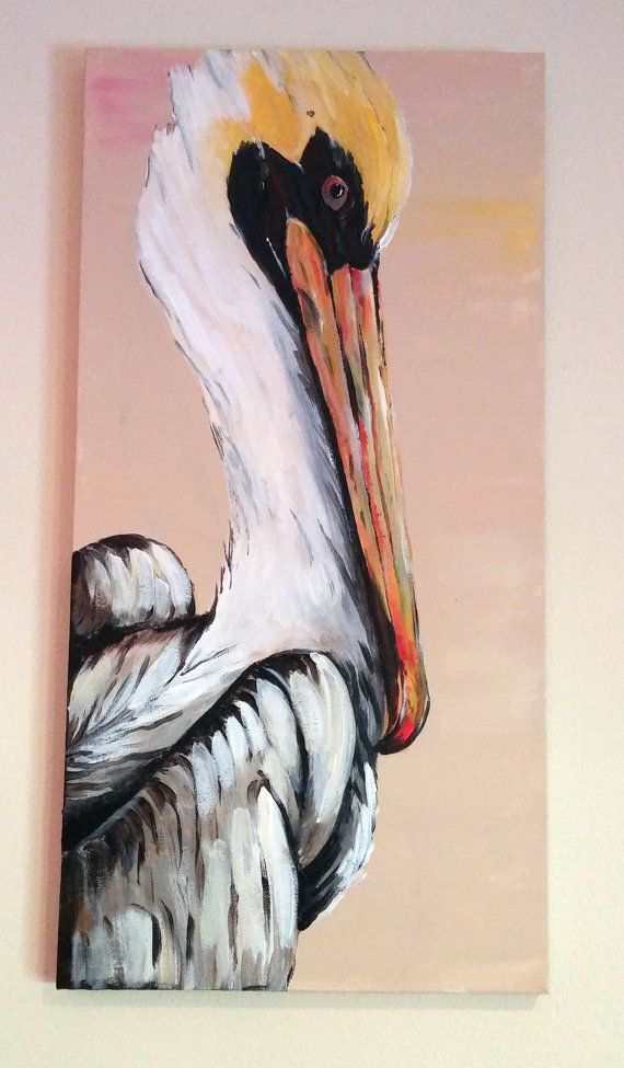 Pelican Acrylic Painting by BeadleDesignsLA on Etsy