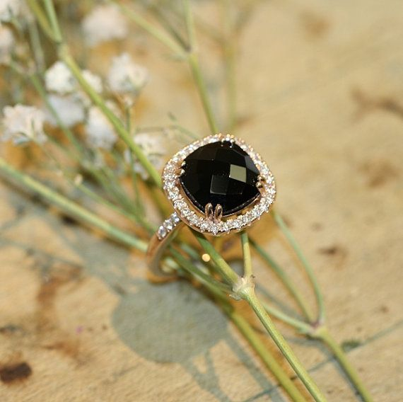 Natural Black Onyx Diamond Halo Engagement Ring by MidPointDesign 10x10mm