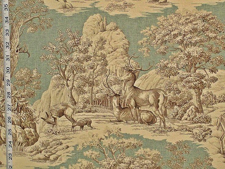 Deer fabric aqua toile nature woodland lodge cabin from Brick House Fabric: Novelty Fabric
