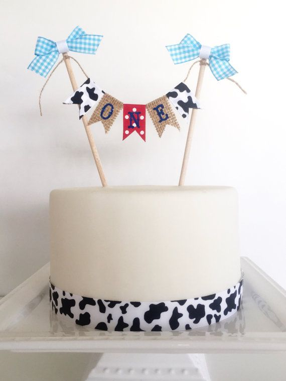 Cowgirl Birthday Cake Topper, Western Baby Shower Cake Topper, Burlap Cow Print Gingham - Personalized