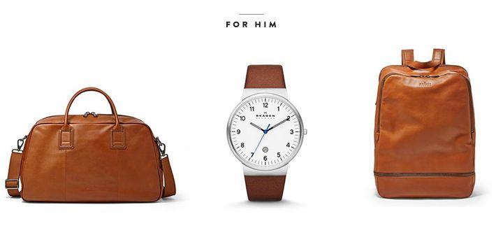 By Scagen / men's leather weekender - saddle + ancher three-hand leather watch + men's leather backpack - saddle
