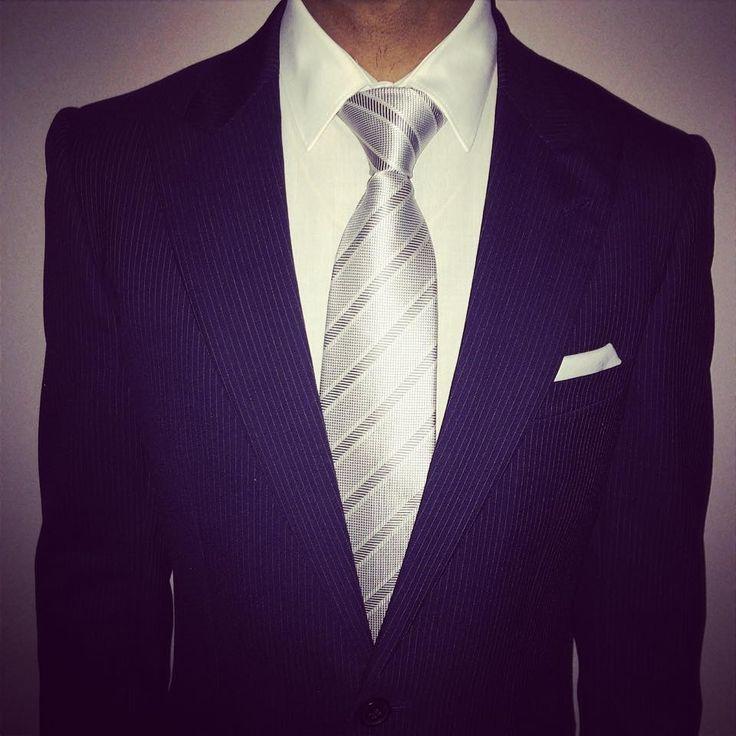 Reiss navy pinstripe suit, white shirt and pocket square, bespoke Italian tie
