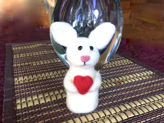 Needle felted bunny Easter bunny Valentine bunny with by Felt4Soul