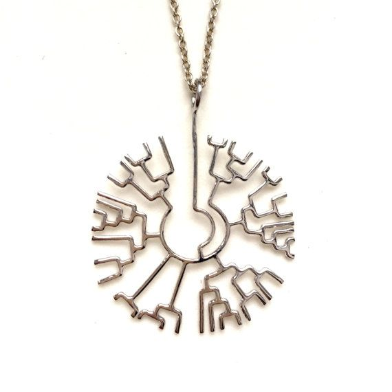 science jewelry: silver phylogenetic tree necklace - 3D printed tree of life pendant - wearable evolution - Darwin - origin of species
