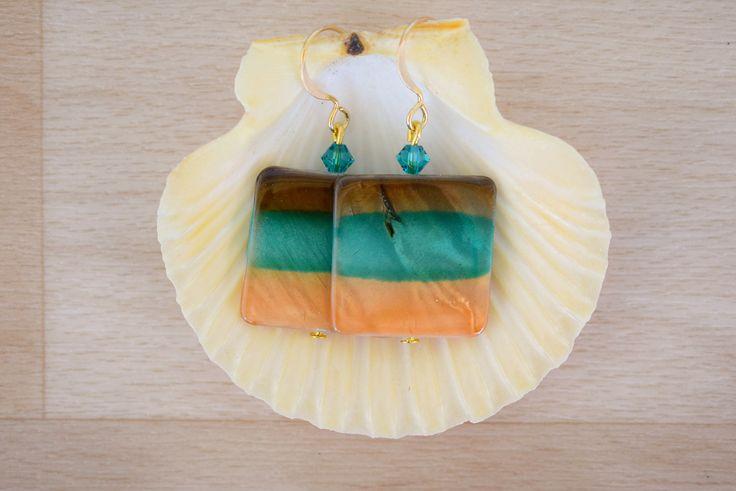 Square Seashell Earrings - Ombre Earrings - Sea Shell Jewelry - Brown-Teal-Orange Earrings - Natural Jewelry - Dangle Earrings by SkadiJewelry on Etsy