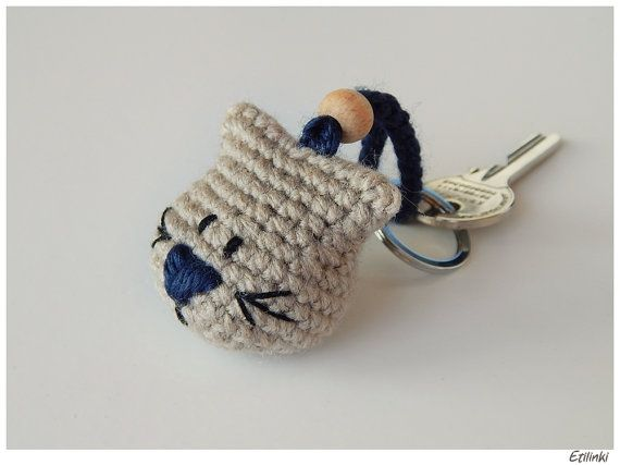 Gift for Cat Lover, Handmade Cat Keychain, Gift For Him, Gift for Cat Owner, Crochet Cat Charm, Eco-friendly gift Natural Minimalist Keyring