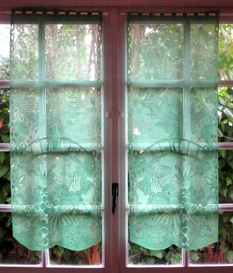 Green Lace Curtains, Pair French Window Curtains, Kitchen