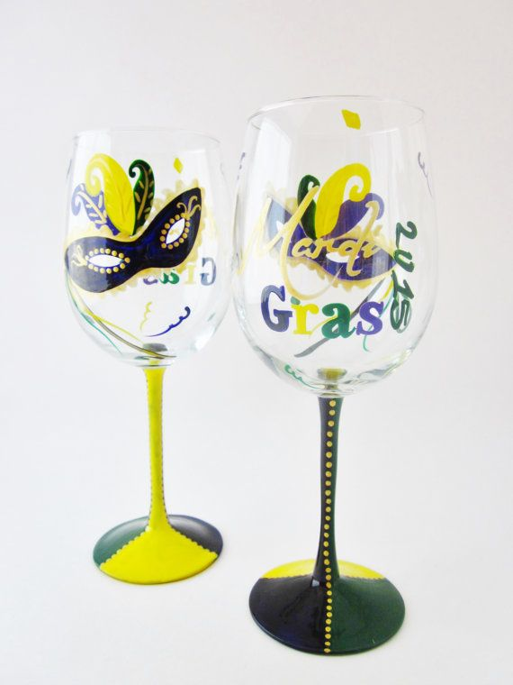 Show Fat Tuesday spirit with this beautiful hand painted Mardi Gras wine glass. Enjoying a glass of your favorite wine with friends and family. This item may be personalized, send me the recipients name on the note to seller section when you check out. Name placement will be on the foot of the glass.   A hand painted glass makes a great birthday, wedding, bachelorette, host (ess) or just because gift. If you want to order more than what is listed just send me a note before you make your…