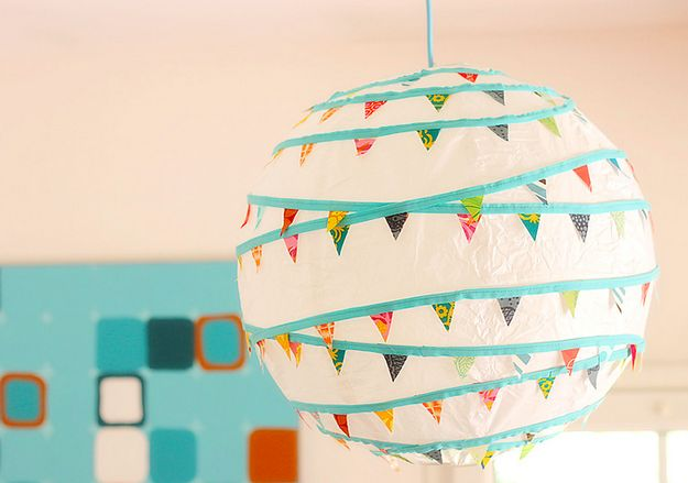 Jazz up a plain Regolit lamp shade with some bunting. @springowl90 we should do this for our lamp, only more Moroccan.