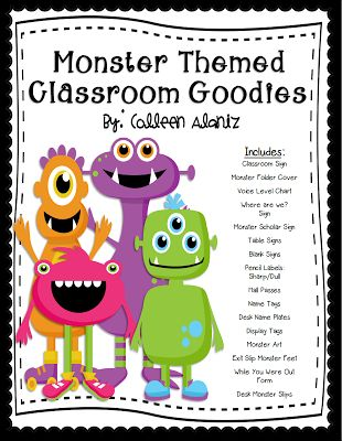 Ideas for a classroom monster theme. A more boyish theme that I could use with younger students.