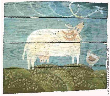 картина в детскую Самолет - бирюзовый,картина,животные,коза,детская,столовая