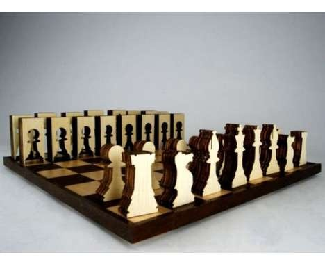 Woodcut Game Sets  The Sustainable Chess Set is Made from Only One Sheet of Plywood