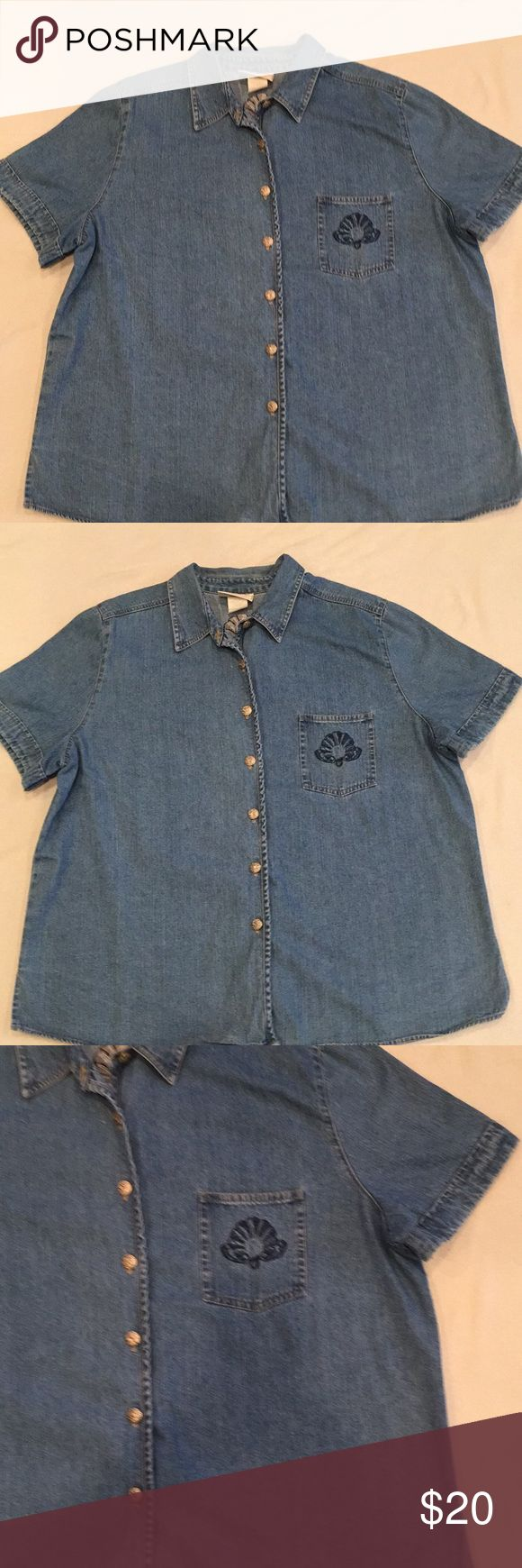 Denim button down shirt Short sleeve, button down front , slits on each side at bottom of hemline, collar, left chest picket has embroidery, embroidery also across shoulder blades. Delta Burke Collection Tops Button Down Shirts