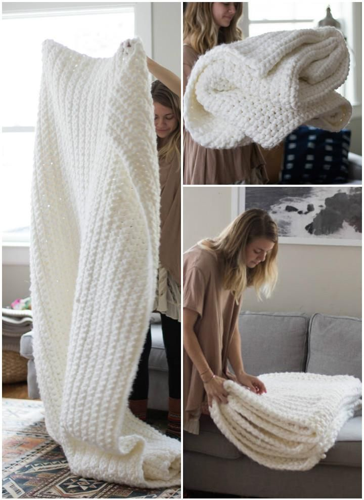 Chunky White Crochet Blanket - 31 Free Crochet Patterns That You will in Love with | 101 Crochet