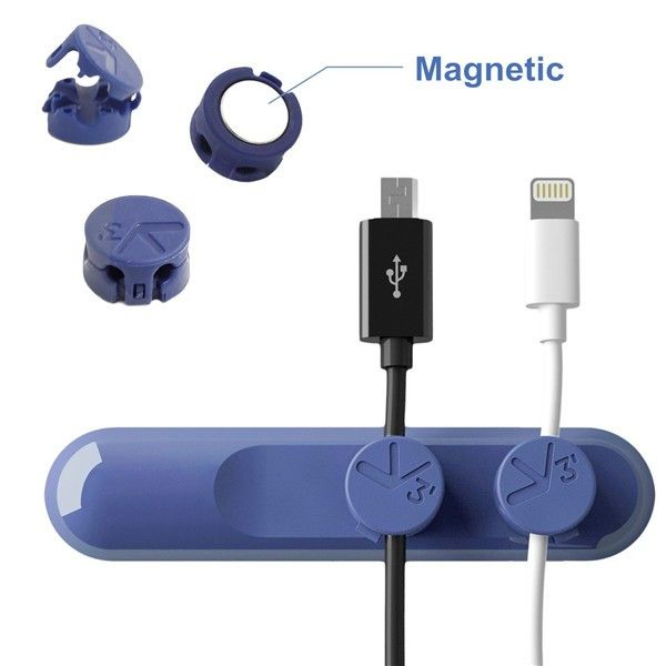 Bcase TUP Magnetic Desktop Cable Clips Cord Management Tiny 3 Size in 1 Wire Cable Organizer