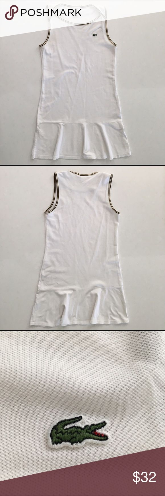 Lacoste Sport Tennis Dress - size 4 - 6 Beautiful condition for a match or pair with sneaks and sport your very best athleasure garb with this French classic.   Great for a bathing suit cover as well.  Size FR 36, US 4-6 Lacoste Dresses Mini