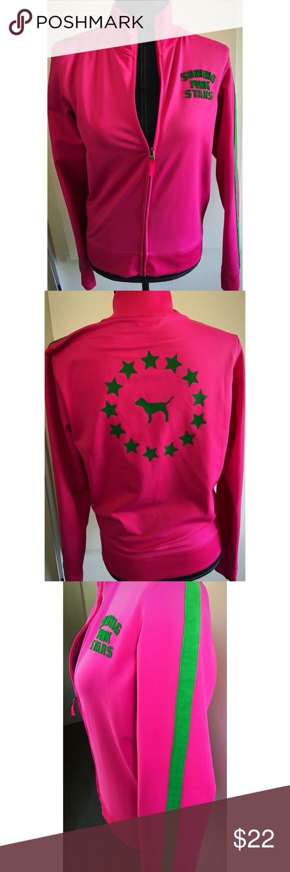 """Victoria secret """"pink"""" letterman sports jacket - M Victoria secret 🎁 """"pink"""" letterman sports jacket 👠 size Medium 👍 worn only once 👢 green Stars and Stripes on jacket 💕 super cozy and cute for working out or a light jacket to have 👋 w/ zipper Victoria's Secret Jackets & Coats Blazers"""