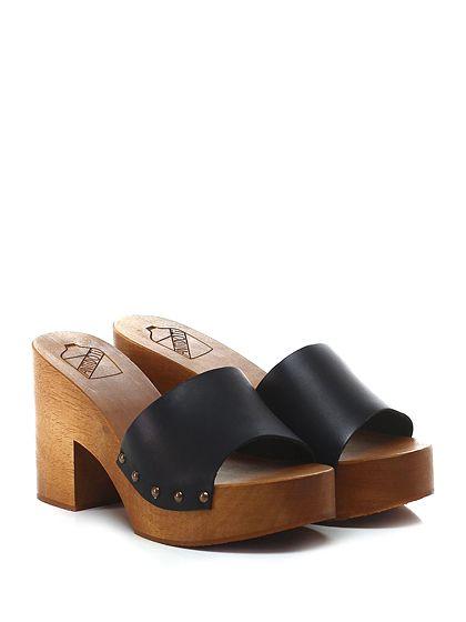 Antidoti - Sandalo alto - Donna - Sandalo alto in pelle con suola in gomma. Tacco 95, platform 40 con battuta 55. - NERO - € 89.00