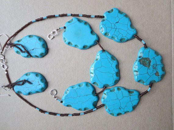 Turquoise Gemstone Statement Jewellery Set Set by KBrownJewellery, £78.00 www.kbrownjewellery.etsy.com