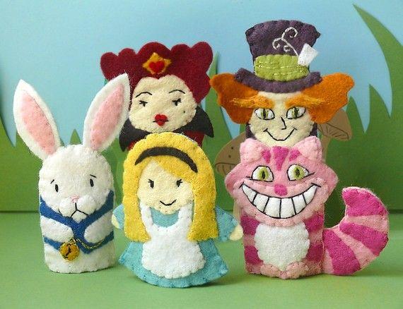 Alice in Wonderland - wool felt puppets