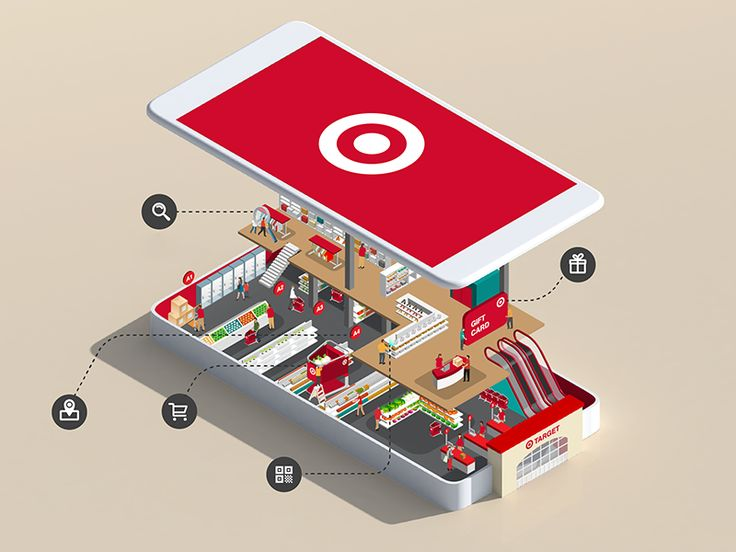 by Jing Zhang A shopping centre inside the smart phone, explaining the features and benefits of having a Target app.