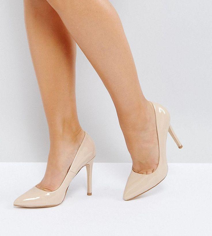 Truffle Collection Wide Fit Heel Court Shoe - Beige
